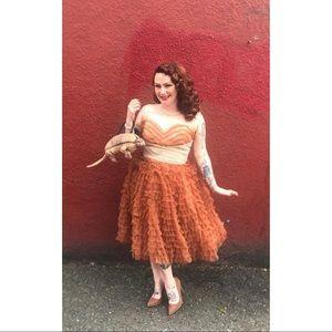 *Altered* 1950s Mocha Ruffled Tulle Cupcake dress